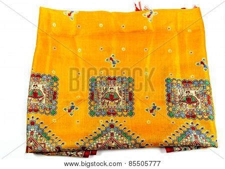 yellow indian silk scarf dupatta isolated