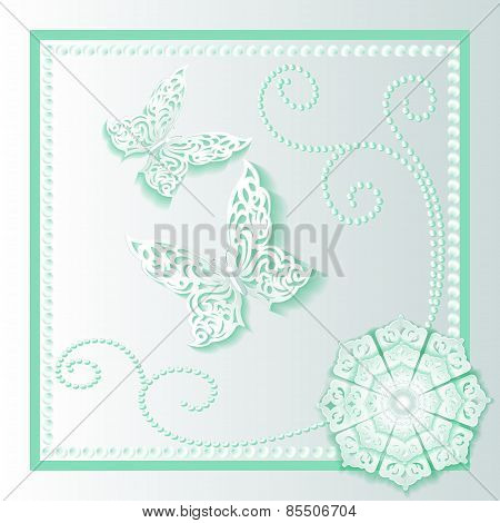 Background Card With Flower Lace And Delicate Butterflies