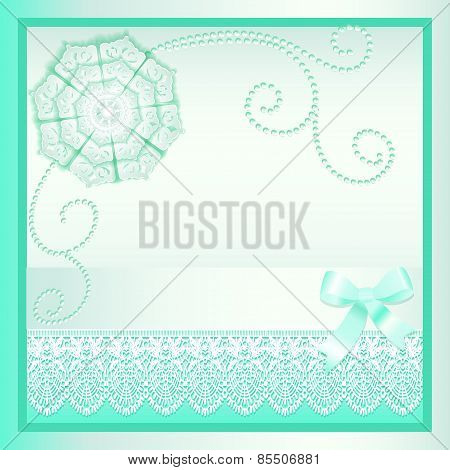 Background Card With A Bow And Delicate Flower