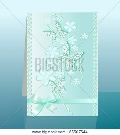 Background Card With Flowers And Bow Delicate Butterflies