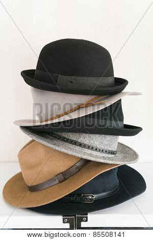 female wool hats on white background