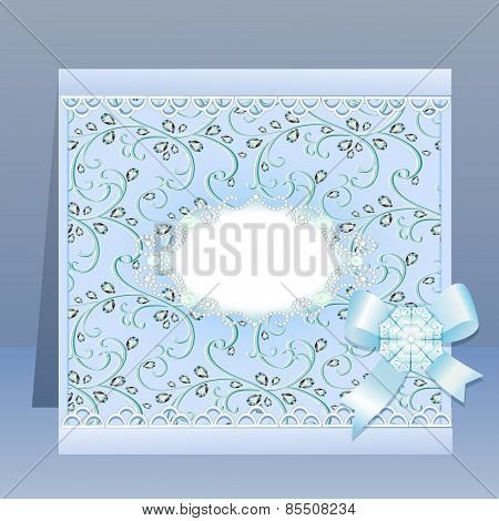 Background Card With A Bow And Delicate Flower And Precious Stones