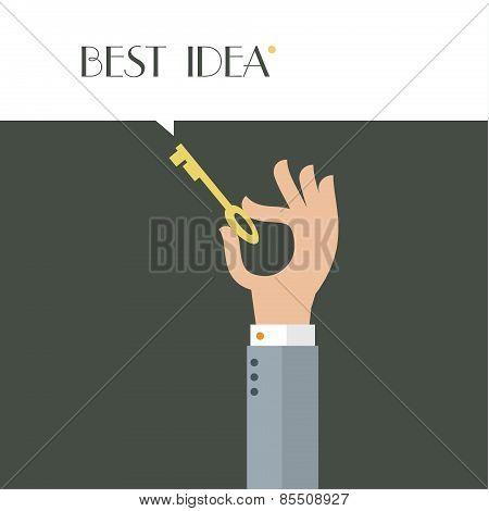 Stylized hand holding key.