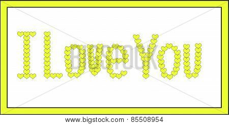 I Love You Yellow on White
