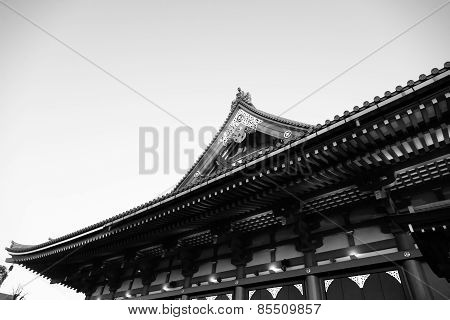 Sensoji-ji Red Japanese Temple In Japan Black And White