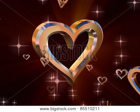 Golden Heart On Purple Background Surrounded By Small Shiny Hearts