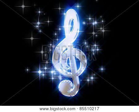 A Silver Treble Clef, Surrounded By Stars On A Black Background