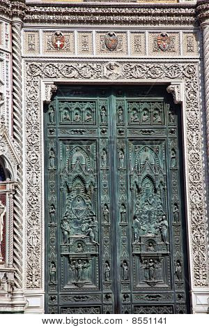 Bronze Door Symbols Duomo Cathedral Florence Italy