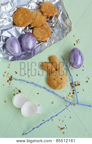 Bright Set Of Easter Eggs And Rabbit Shape Homemade Cookie