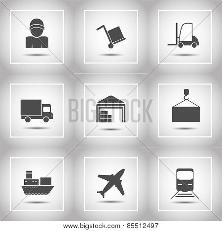 Shipping And Delivery Icons Flat Set