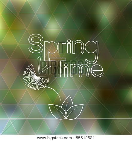 Spring Time Lettering Blurred Background With Geometric Triangle Pattern