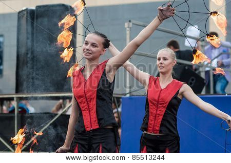 The Girls Performed A Dance With Burning Torches,