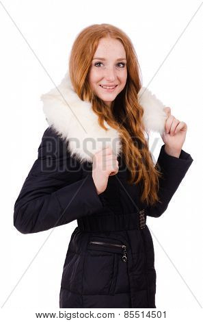 Pretty girl in warm clothes isolated on white