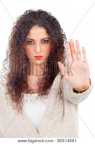 Angry woman with curly hair saying Stop isolated on a white background