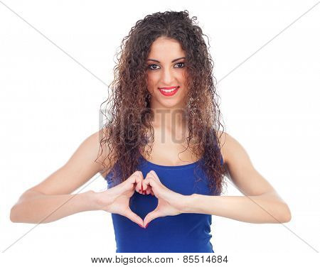 Lovely woman making a heart with her hands isolated on a white background
