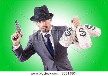 Businessman criminal with sacks of money