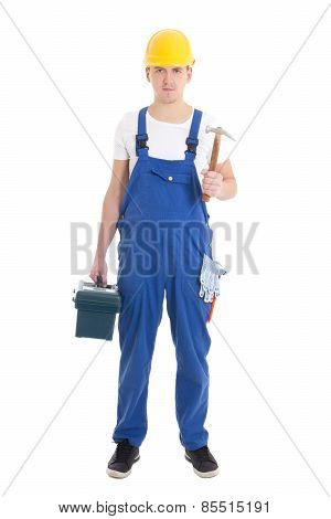 Man In Builder Uniform And Helmet With Toolbox And Hammer Isolated On White