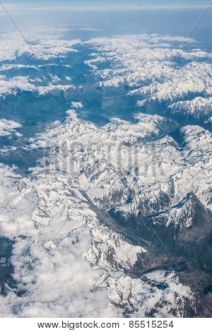 Snowy Mountains Seen From Above