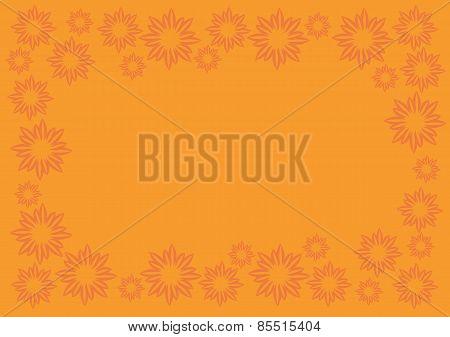 Orange Vector Background With Floral Pattern Border