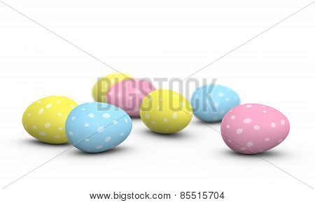 Easter eggs with spots painted on their shells