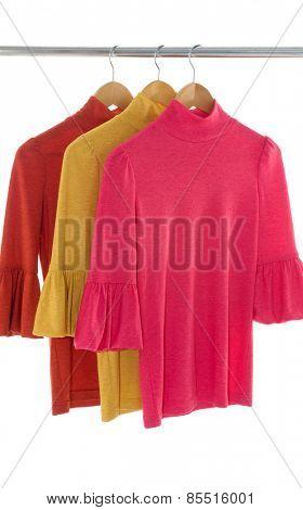 female clothing on hangers