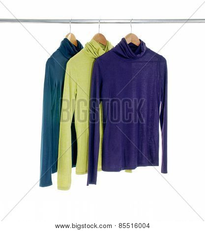 female three clothing on hangers at the show