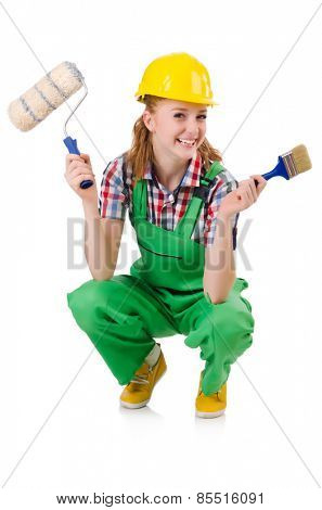 Female foreman with paint brush isolated on white
