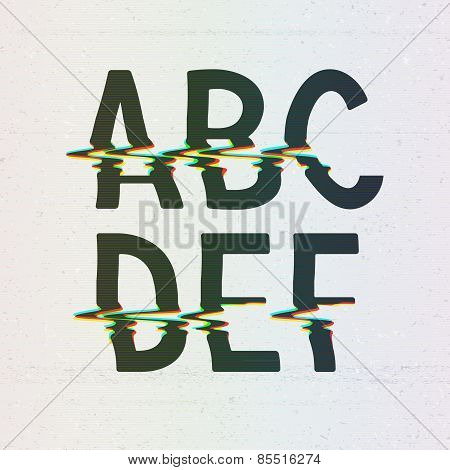 Vector CMYK Print Distortion Font from