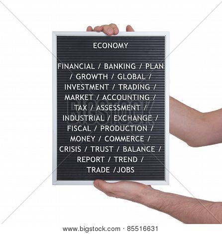 Economy Concept In Plastic Letters On Very Old Menu Board