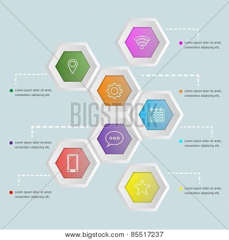 3D Hexagon Shape Infographic Template