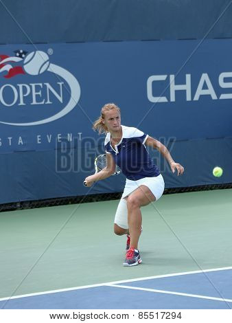 Professional tennis player Lesia Tsurenko from Ukraine during US Open 2013 match