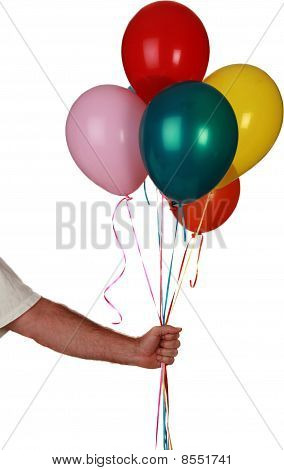 a human hand holds balloons isolated on white with room for your text