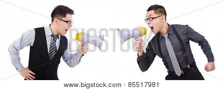 Businessmen with megaphones isolated on white