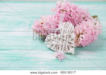 Heart And Flowers On Wooden Background