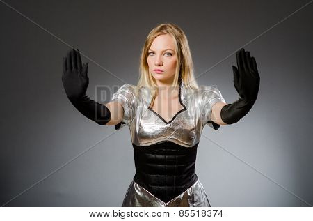 Tech woman in futuristic concept