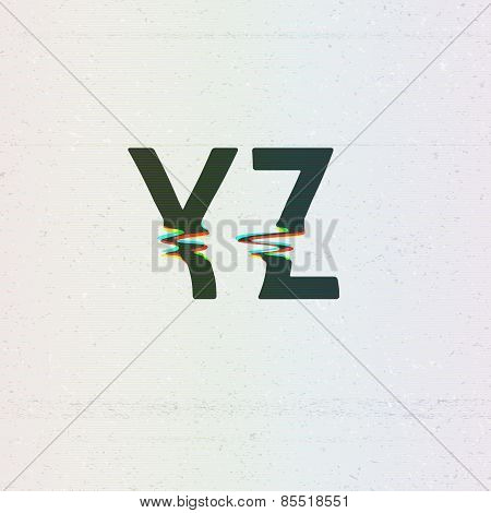 Vector CMYK Print Distortion Font from Y to Z