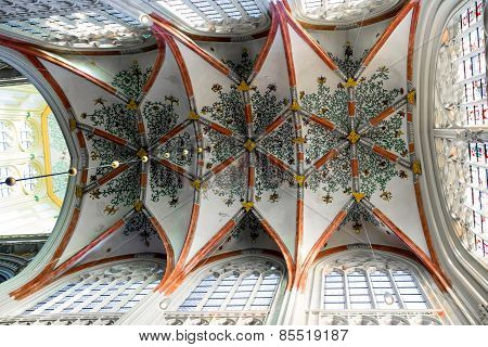 Colorful Ceiling In The Cathedral The Dutch City Of Den Bosch
