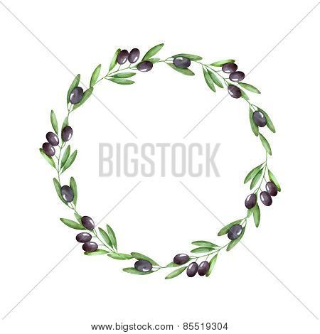 Watercolor Olive Branch Wreath