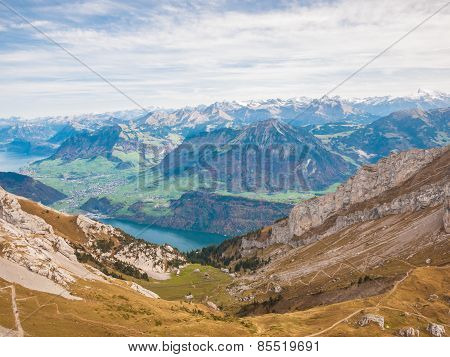 Panorama View Of Lucerne Lake And The Alps Near Pilatus