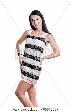 Beautiful Fashionable Woman On A White Background