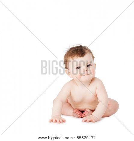 Happy baby isolated on white. Crawling