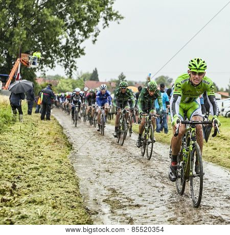 The Cyclist Maciej Bodnar On A Cobbled Road - Tour De France 2014