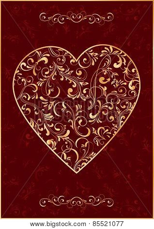The Gold Heart on red background