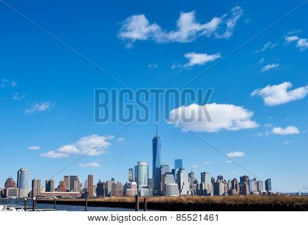 New York City Manhattan skyline over Hudson River viewed from New Jersey
