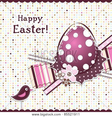 Template Easter greeting card, ribbon, vector illustration