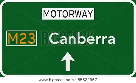 Canberrra Australia Highway Road Sign