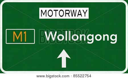 Wollongong Australia Highway Road Sign