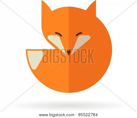 Fox sign, illustration and element. Vector icon