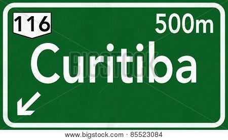 Curitiba Brazil Highway Road Sign