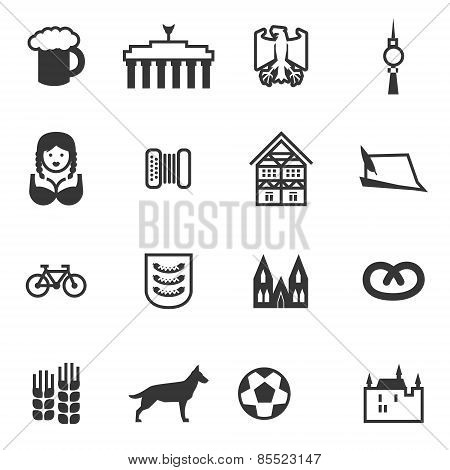 Set Of Icons With Signs Of Germany And Berlin